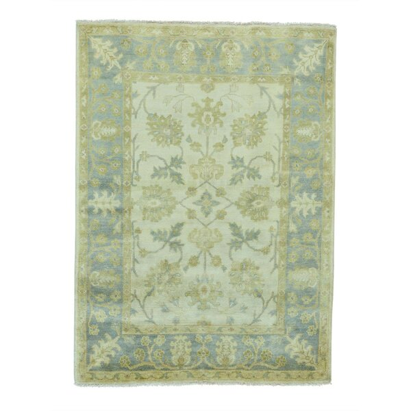 One-of-a-Kind Dilbeck Oriental Hand-Knotted Ivory Area Rug by World Menagerie