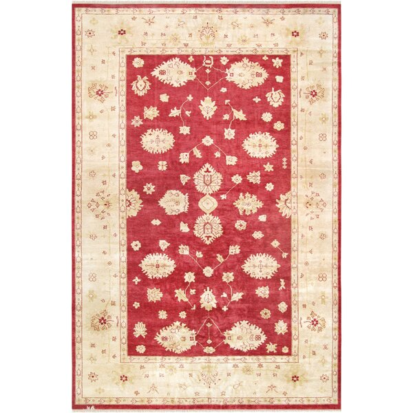 Oushak Hand-Knotted Wool Red/Ivory Area Rug