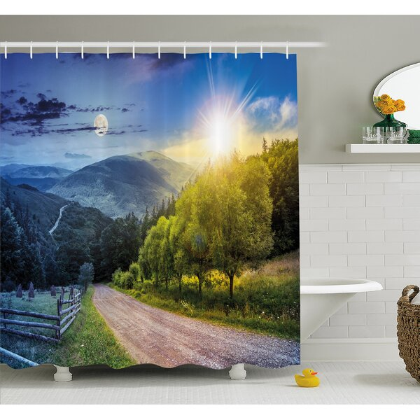 Farm House Day and Night Collage View with Moon and Sun Horizon Countryside Hillside Shower Curtain Set by Ambesonne