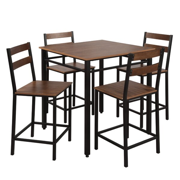 Rech 5 Piece Counter Height Solid Wood Dining Set by Red Barrel Studio Red Barrel Studio