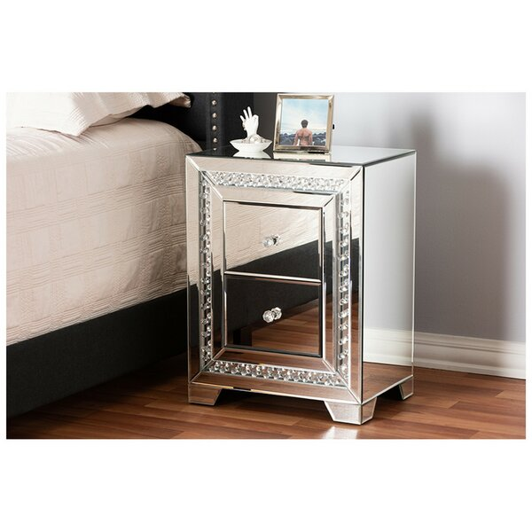 Canby Mirrored 2 Drawer Nightstand by Rosdorf Park