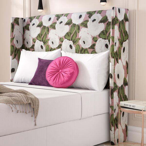 Adalia Bloomsbury Rose Upholstered Wingback Headboard by Rosdorf Park