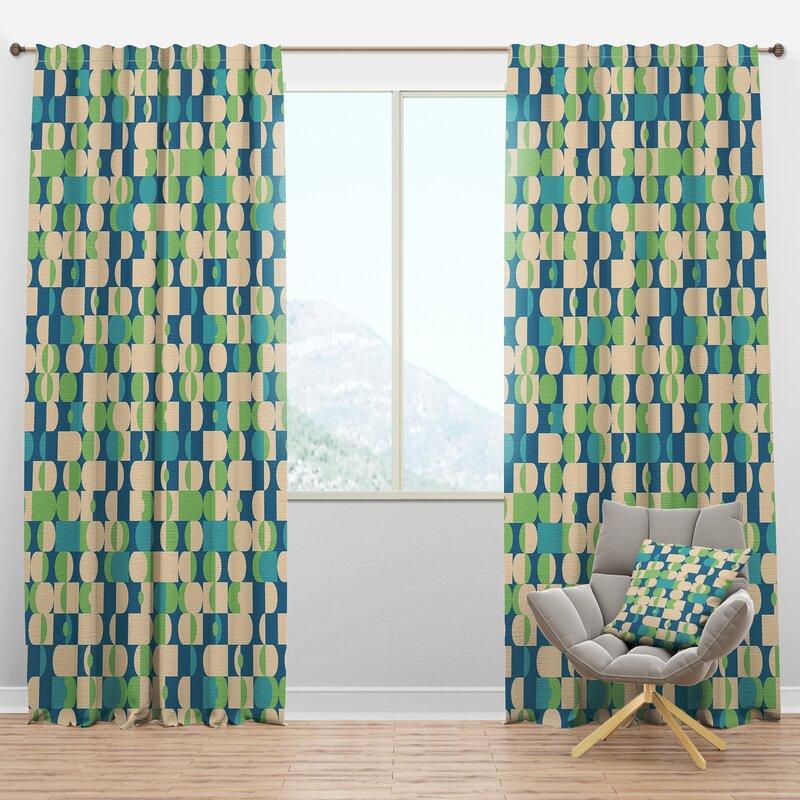 Designart Mid Century Geometric Semi Sheer Thermal Rod Pocket Curtain Panels Wayfair