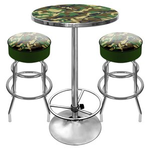 Hunt Camo Game Room 3 Piece Pub Table Set by Trademark Global