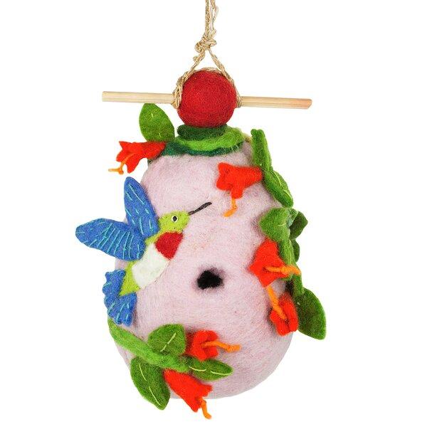 Hummingbird Felt 9 in x 5 in x 3 in Birdhouse by Global Crafts