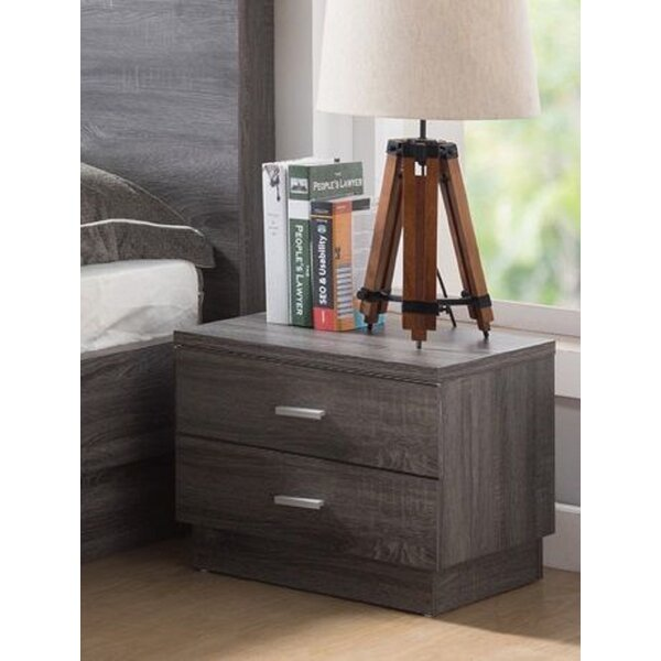 Home Office Utility Wooden 2 Drawer Nightstand By Union Rustic