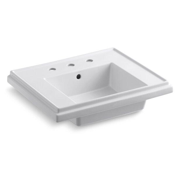 Tresham® Ceramic 24 Pedestal Bathroom Sink with Overflow by Kohler
