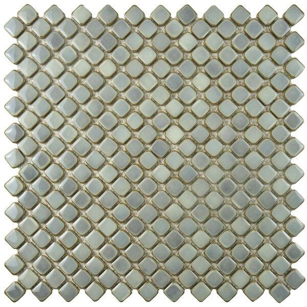 Gem 0.71 x 0.71 Porcelain Mosaic Tile in Glossy Gray by EliteTile