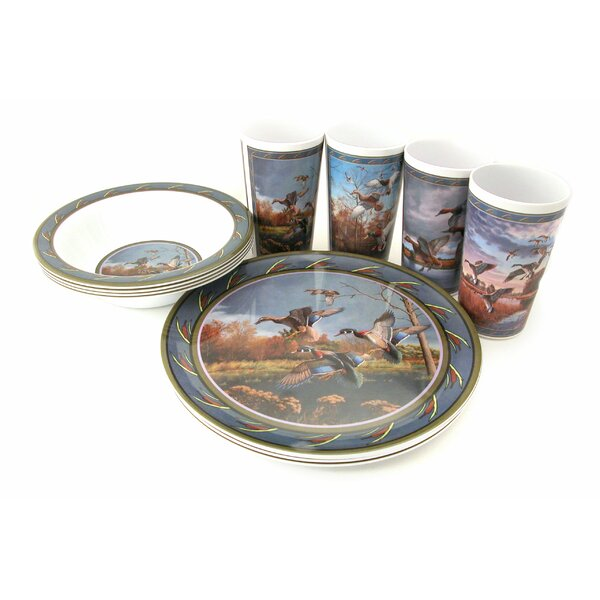 Water Fowl Melamine 12 Piece Dinnerware Set, Service for 4 by MotorHead Products