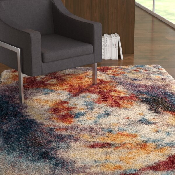 Delma Rust/Ivory Area Rug by Ebern Designs