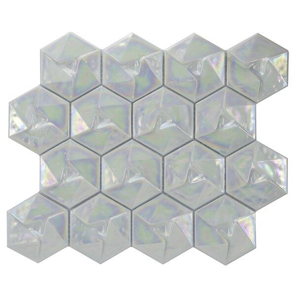 Metallica Geometric Glass Mosaic Tile in Xenon by Byzantin Mosaic