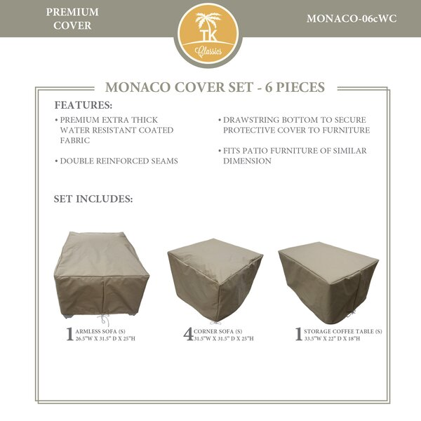 Monaco Protective 6 Piece Water Resistant Patio Furniture Cover Set by TK Classics