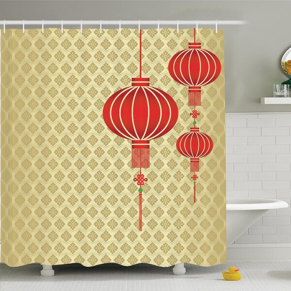 Chinese Lantern Baroque Artsy Shower Curtain Set by Ambesonne