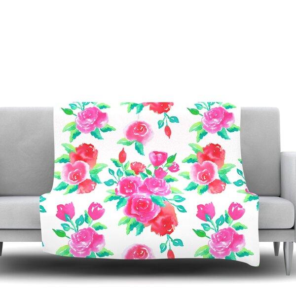 Roses by Anneline Sophia Fleece Throw Blanket by East Urban Home