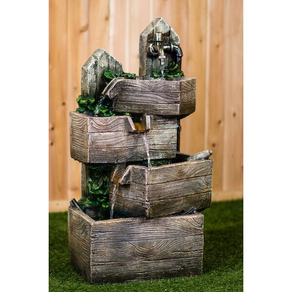 Resin Multi-Level Pouring Crates Fountain with LED Light by Hi-Line Gift Ltd.