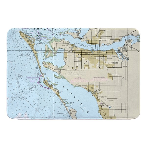 Nautical Chart Bradenton FL Rectangle Memory Foam Non-Slip Bath Rug