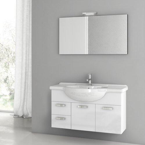 Phinex 42 Wall-Mounted Single Bathroom Vanity Set with Mirror by ACF Bathroom Vanities