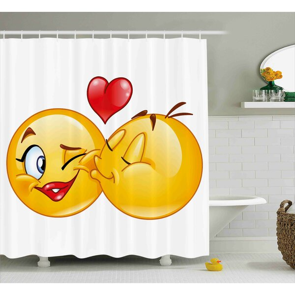 Alice Emoji Romantic Flirty Loving Smiley Faces Couple Kissing Eachother Hearts Image Art Print Shower Curtain by Ebern Designs