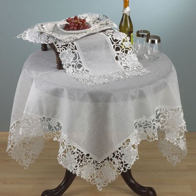 Sauvignon Blanc Embroidered and Cutwork Table Runner by Saro