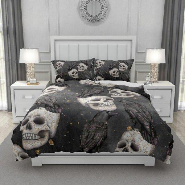 Thorbern Grayscale Calavera Skull Duvet Cover Set