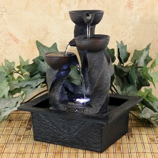 Spiral Column Cascading Tiered Bowl Tabletop Water Fountain With Light
