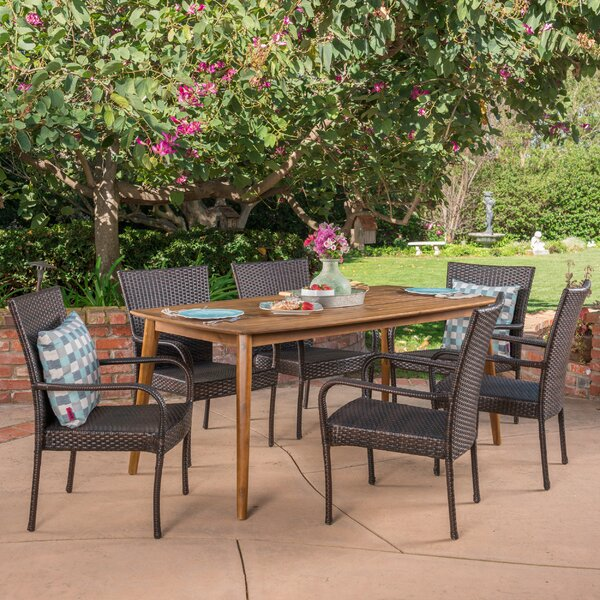 Townsel Outdoor 7 Piece Wicker Dining Set by Ebern Designs
