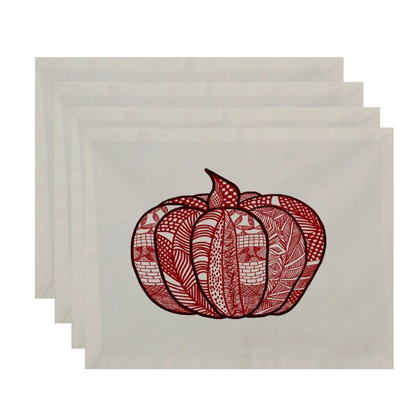 Ames Pumpkin Patch Geometric Print Placemat (Set of 4) by August Grove