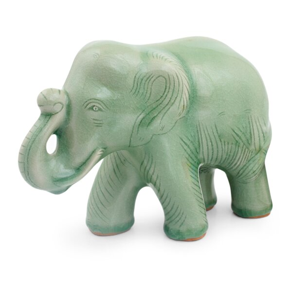 Youmans Ceramic Happy Elephant Figurine by Bloomsbury Market