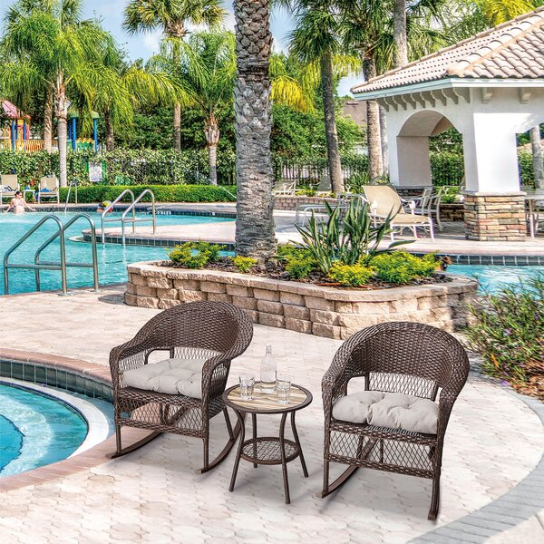 3 Piece Rattan Seating Group with Cushions by Peaktop