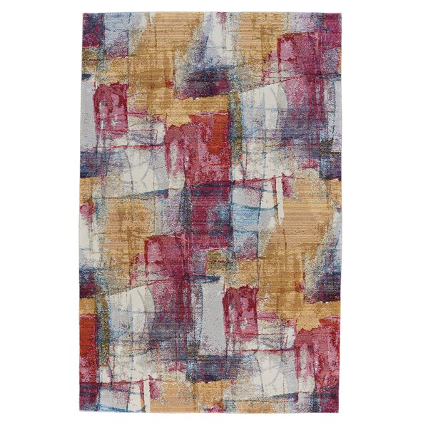 Ernesto Canvas Ruby/Gray Area Rug by Ebern Designs