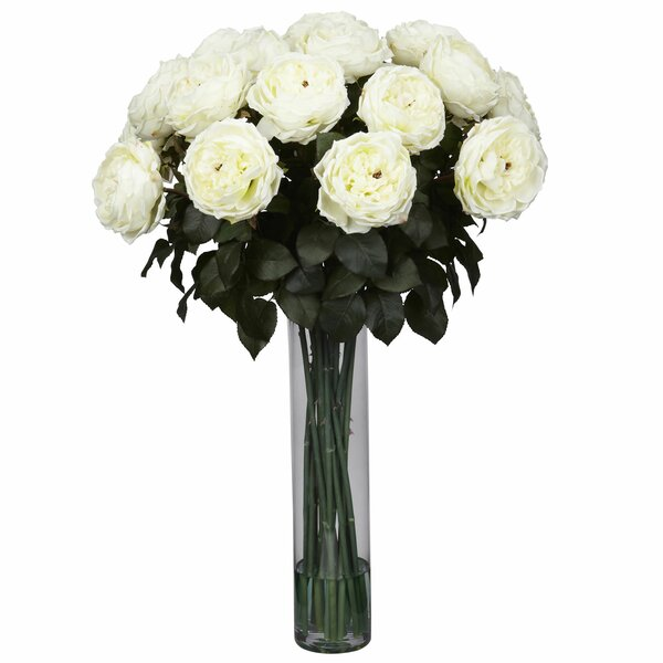Fancy Rose Silk Flower Arrangement in White by Nearly Natural
