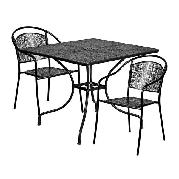 Saffron Outdoor Steel 3 Piece Dining Set by Ebern Designs