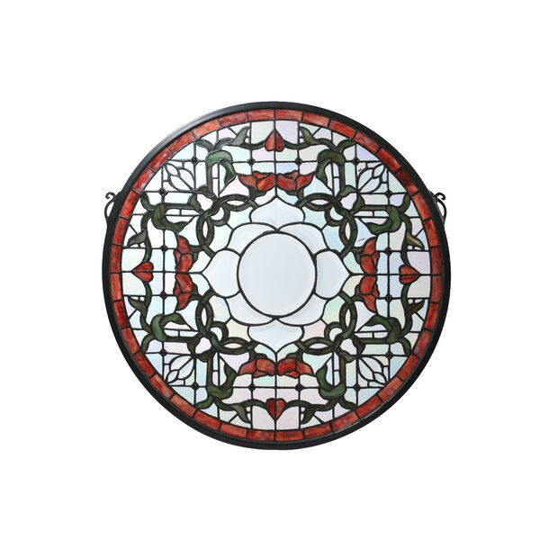 Victorian Tulip Bevel Medallion Stained Glass Window by Meyda Tiffany