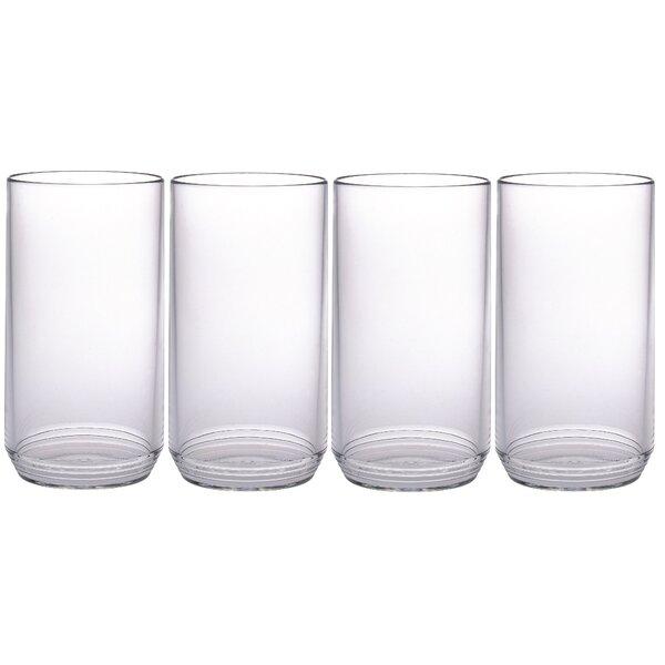 Ribbed 14 oz. Acrylic Highball Glass (Set of 4) by Chenco Inc.