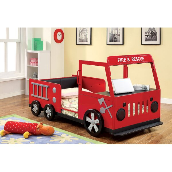 Fire Engine Twin Car Bed with Shelves by Hokku Designs