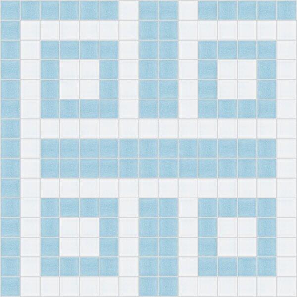 Urban Essentials Square Lattice 3/4 x 3/4 Glass Glossy Mosaic in Breeze Blue by Mosaic Loft
