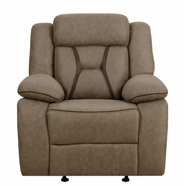 Eisenman Pillow-Padded Glider with Contrast Stitching Recliner by Darby Home Co