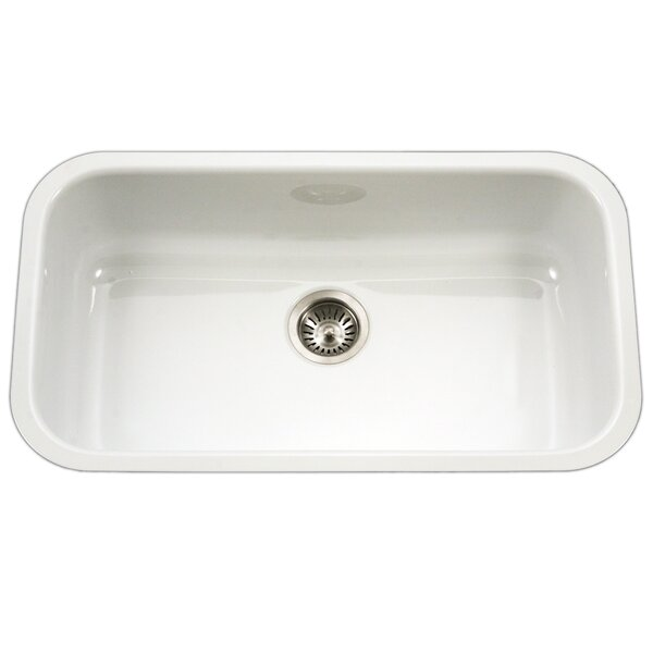 Porcela 30.9 L x 17.32 W  Porcelain Enamel Steel Gourmet Undermount Single Kitchen Sink by Houzer