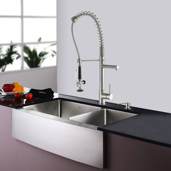 35.9 L x 20.75 W Double Basin Farmhouse Kitchen Sink Set with Kitchen Faucet and Soap Dispenser by Kraus