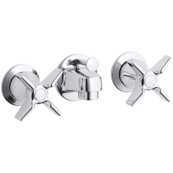 Triton Shelf-Back Commercial Bathroom Sink Faucet with Pop-Up Drain and Cross Handles by Kohler