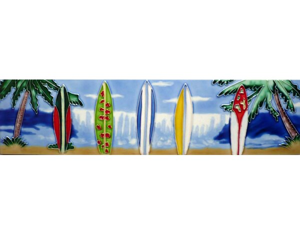 Five Surfboards Tile Wall Decor by Continental Art Center