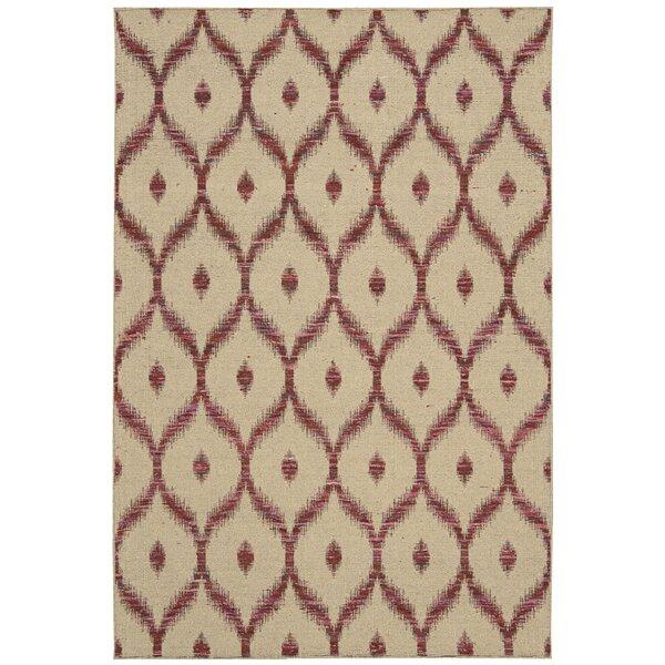 Pine Grove Hand-Woven Beige/Burgundy Area Rug by Bloomsbury Market