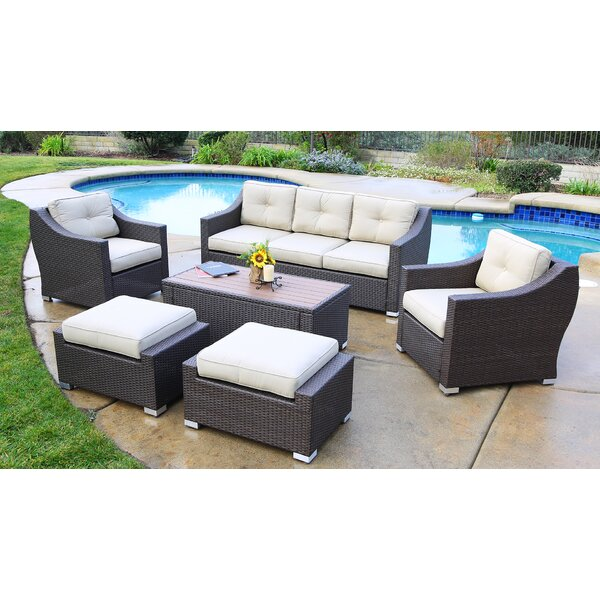 Hasan 6 Piece Rattan Sofa Seating Group with Cushions by Brayden Studio