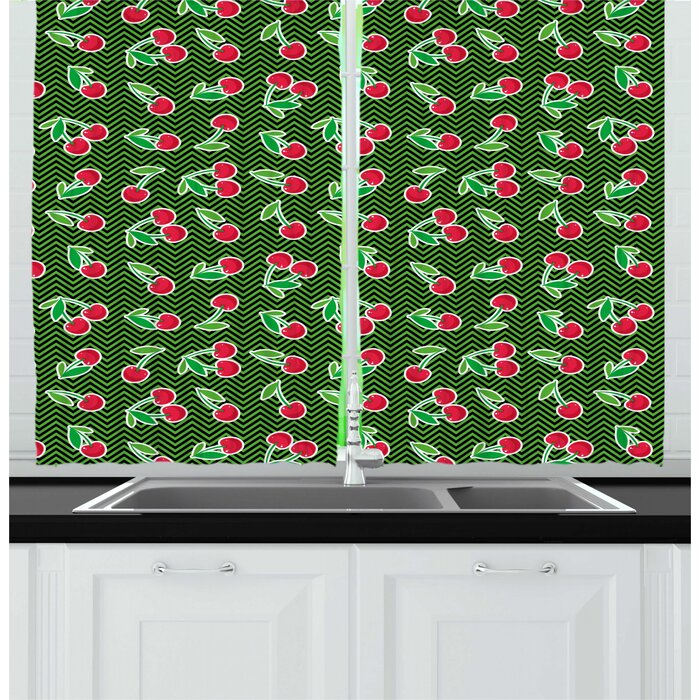 Cherry Repetitive Fresh Fruits Snack on Zigzag Pattern Kitchen Curtain (Set of 2)