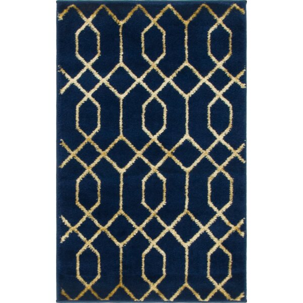 Glam Navy Blue Area Rug by Marilyn Monroe