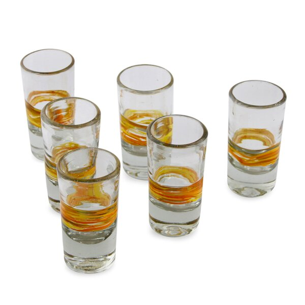 Dorgan Handblown Striped Tequila Shot Glass (Set of 6) by Mercury Row