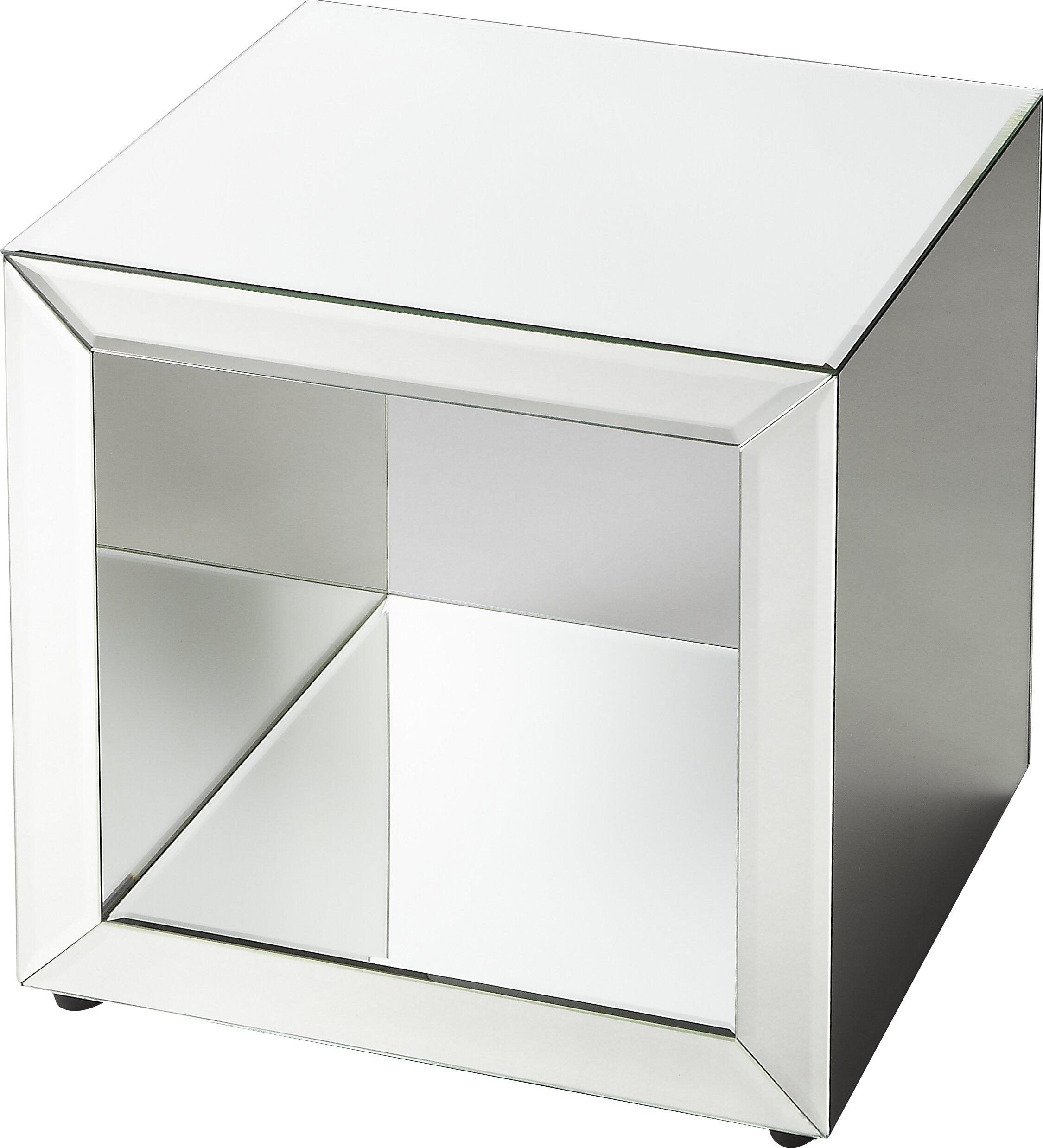Mercer41 Seraphin Mirrored Cube End Table | Wayfair