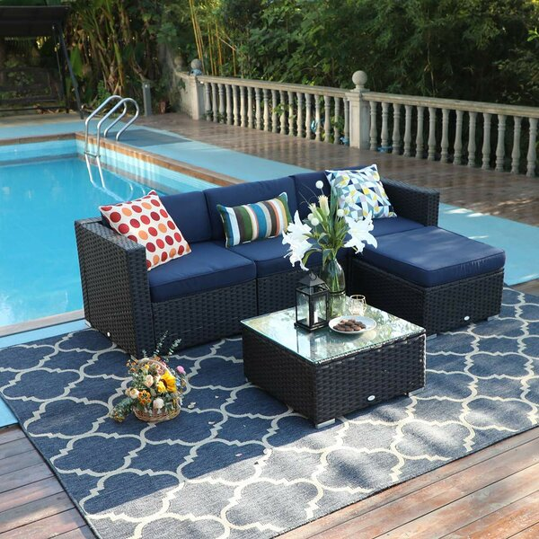 Hadnot Outdoor 5 Piece Rattan Sectional Seating Group with Cushions by Wrought Studio Wrought Studio