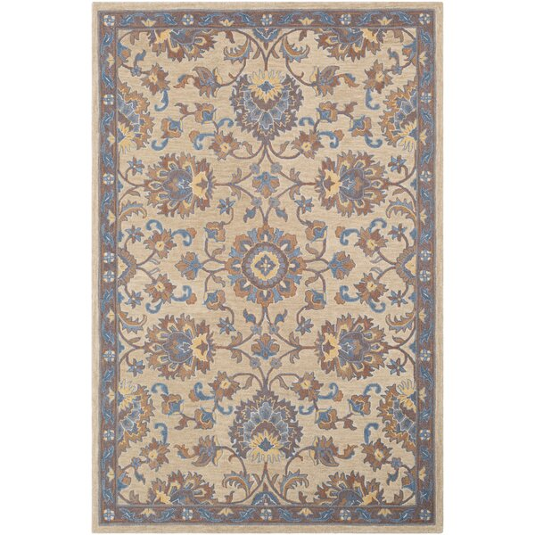 Edgerly Hand Tufted Wool Khaki/Dark Brown/Navy Area Rug by Bungalow Rose