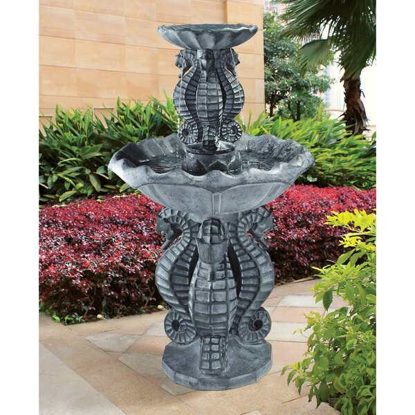 Resin Spirit of the Ocean Seahorse Tiered Fountain by Wildon Home ®